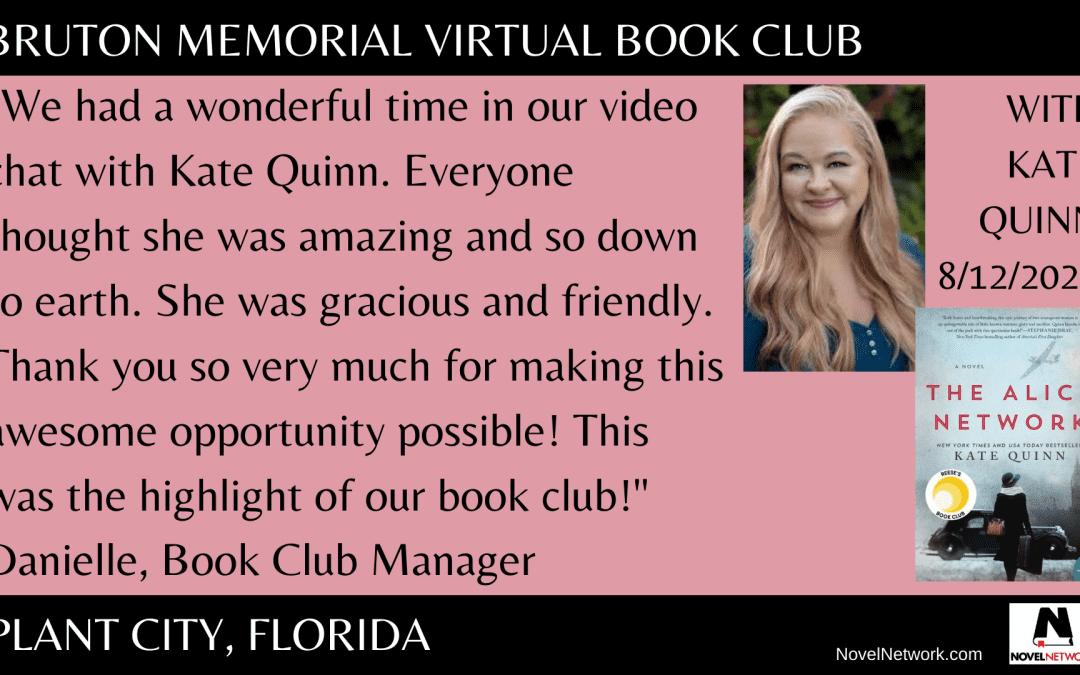 Kate Quinn Draws Rave Reviews From Bruton Memorial Virtual Book Club