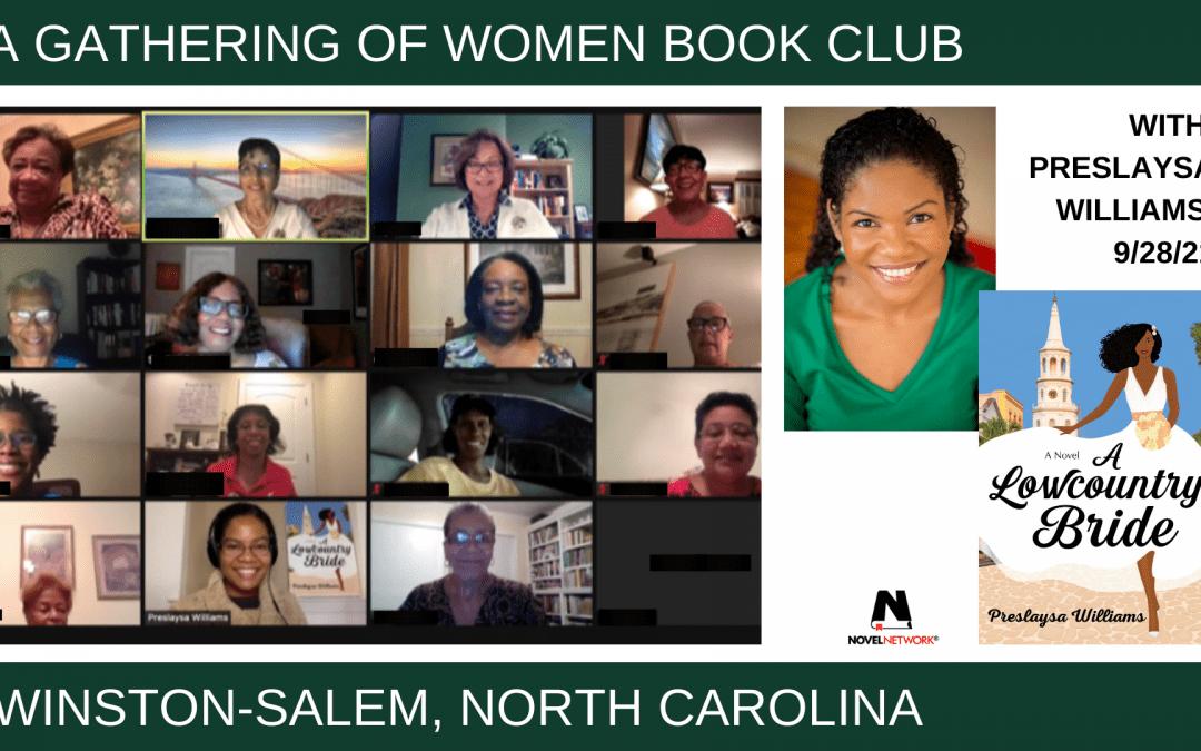 A Gathering of Women Book Club enjoys a gathering with Preslaysa Williams